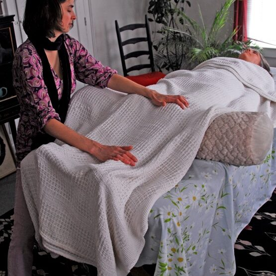 Client reclining on table with white blanket as healer runs energy through hands into clients body at ankles and knees, plants in background